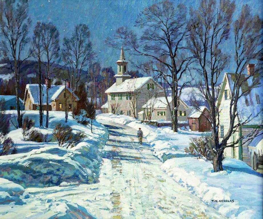 """Artist and Middletown native Tom Nicholas is exhibiting his and his father's paintings as part of """"Tom and T. M. Nicholas: A Father and Son's Journey in Paint."""" The show is on view through April 12 at the Cape Ann Museum in Gloucester, Mass. Shown here is T. M. Nicholas' """"Winter Evening in Jamaica, Vt."""" Photo: Contributed Photo"""