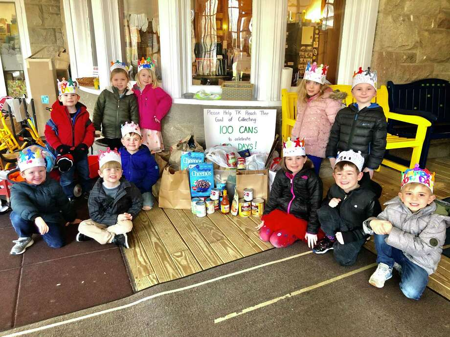 Jesse Lee Day School's Transitional Kindergarten collected more than 100 cans of food for the Ridgefield Food Pantry to celebrate the 100th day of school. Photo: Loren Brewi