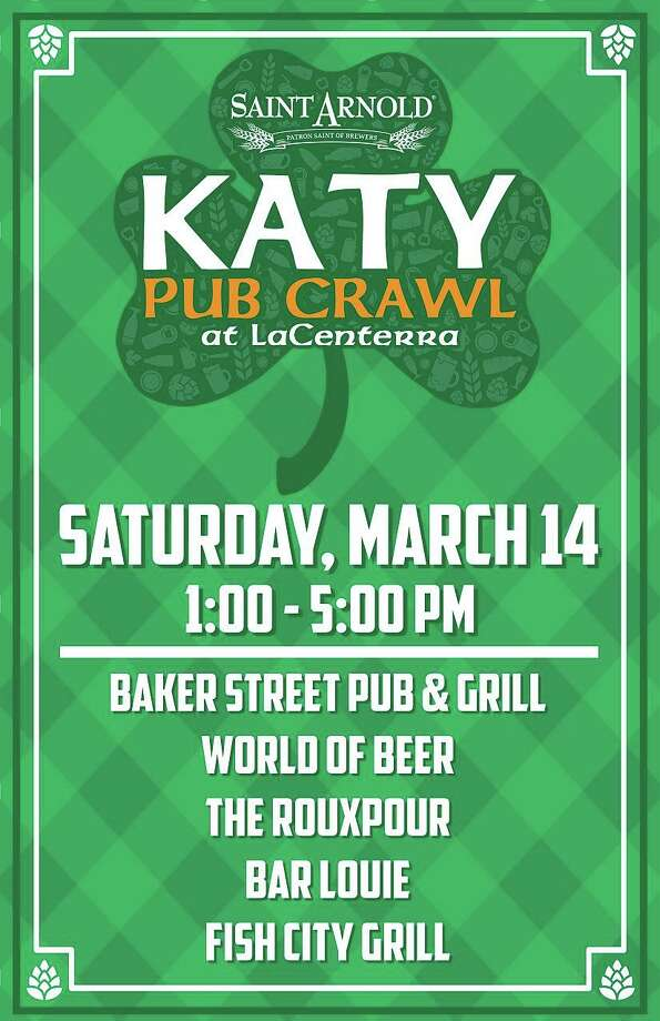 LaCenterra is teaming up with Saint Arnold Brewing Company to host a fun St. Patty's themed Pub Crawl. There are five participating locations. Participants will start at Baker Street between 1 and 2 p.m. where they will get a punch card at that stop and go from there. Participants will need to begin crawling by 2 p.m. At 5 p.m., everybody will gather back at Baker Street where Saint Arnold will award a prize. The prize for making all the stops will be one of their 2020 St. Patrick's Day pint glasses. Designated drivers are both eligible for the award and encouraged to attend. Rideshare pick up/drop off locations will also be available by Baker Street Pub and Bar Louie. For more information go to https://tinyurl.com/wx88635.