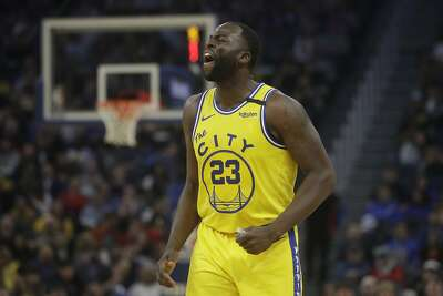 Golden State Warriors forward Draymond Green (23) reacts against the Los Angeles Lakers during an NBA basketball game in San Francisco, Thursday, Feb. 27, 2020. (AP Photo/Jeff Chiu)