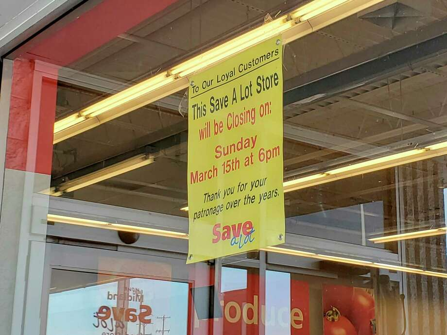 The Midland Save-A-Lot, located at 1826 S. Saginaw Road, will close on March 15, according to a sign posted on the store window. (Ashley Schafer/Ashley.Schafer@hearstnp.com)