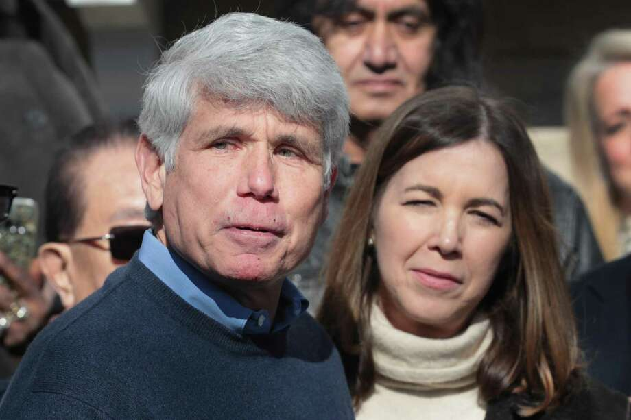 With his wife Patti by his side, former Illinois Gov. Rod Blagojevich speaks during a press conference in front of his home on Feb. 19 in Chicago, Illinois. Blagojevich, who had been serving time in federal prison for attempting to sell Barack Obama's vacant Senate seat when Obama was elected president, was released after President Donald Trump commuted his sentence. A reader says those Trump has chosen to pardon have committed unsavory acts compared to those Obama chose to pardon. Photo: Scott Olson /Getty Images / 2020 Getty Images