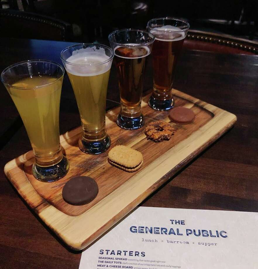 """The General Public is offering a flight with four cookies and four beers from Karbach Brewing Company for $10 until March 15. The Rim restaurant and bar describes the offer as the joining of """"two irresistible treats."""" Four options from the Houston-based brewery to complement the flavor profile of Thin Mints, S'mores, Tagalongs and Samoas. Photo: Courtesy, The General Public/Sarah Washington, @ras.sa.sy"""