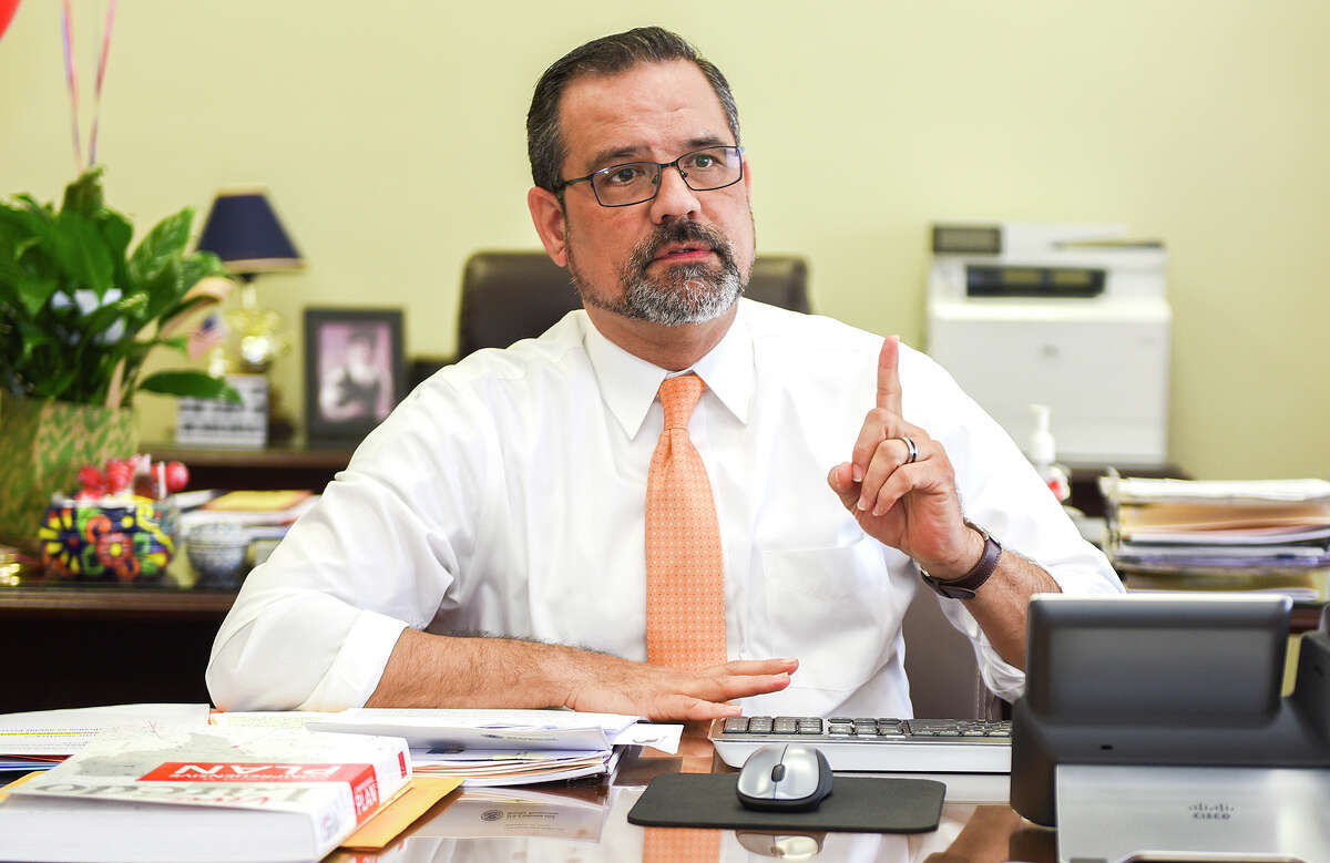 Newly selected City Manager Robert Eads speaks during an interview with Laredo Morning Times, Thursday, Mar. 5, 2020, at City Hall.