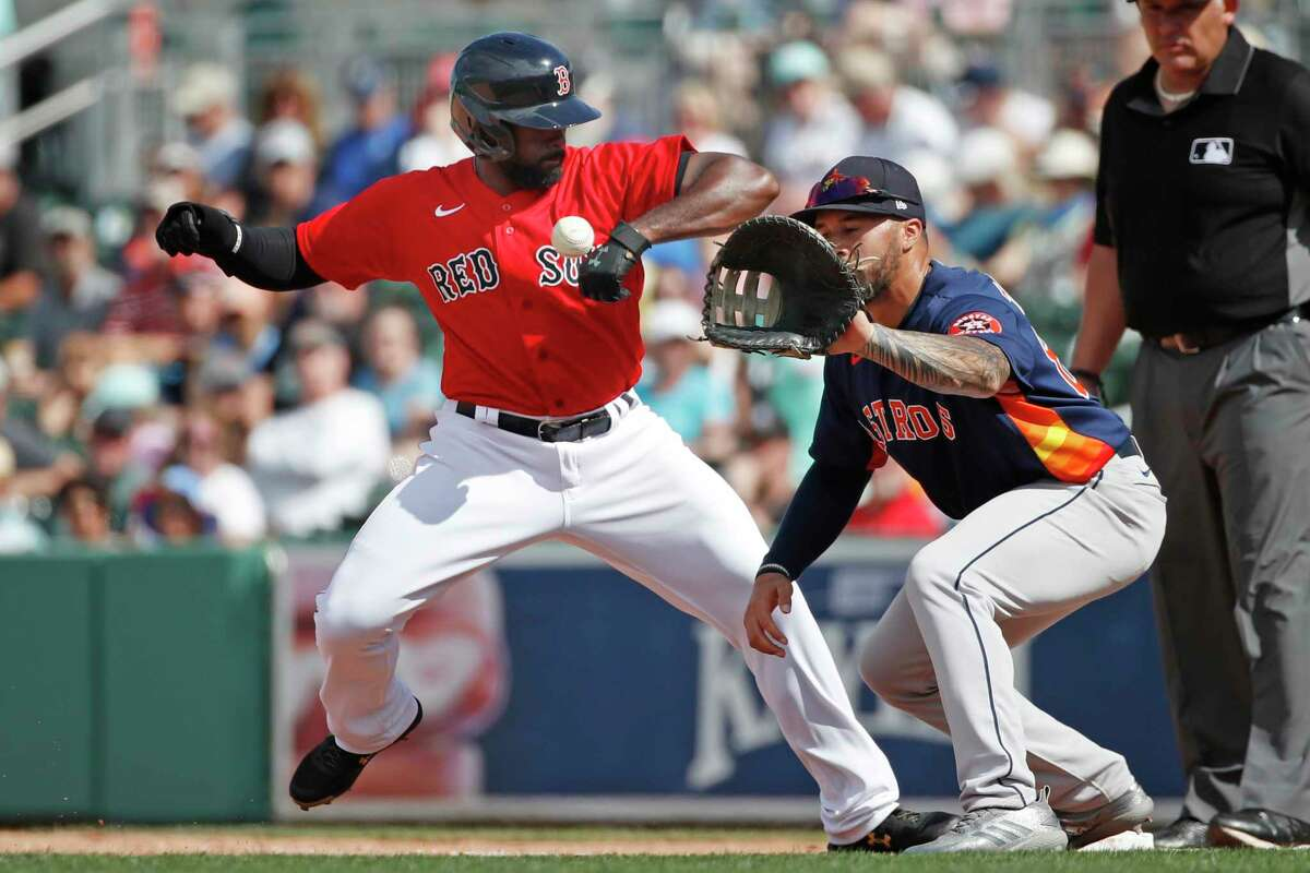 Boston Red Sox's Jackie Bradley Jr. gets back to first safely on a pickoff attempt to Houston Astros first baseman Nick Tanielu during a spring training baseball game, Thursday, March 5, 2020, in Fort Myers, Fla. How much will players be paid? They'll get their full pro-rated salaries. So, if it's a 60-game regular season, players would receive 37 percent of what they were supposed to receive for the 2020 season. If the regular season gets stretched to 65 games, players would receive 40 percent of their salaries.