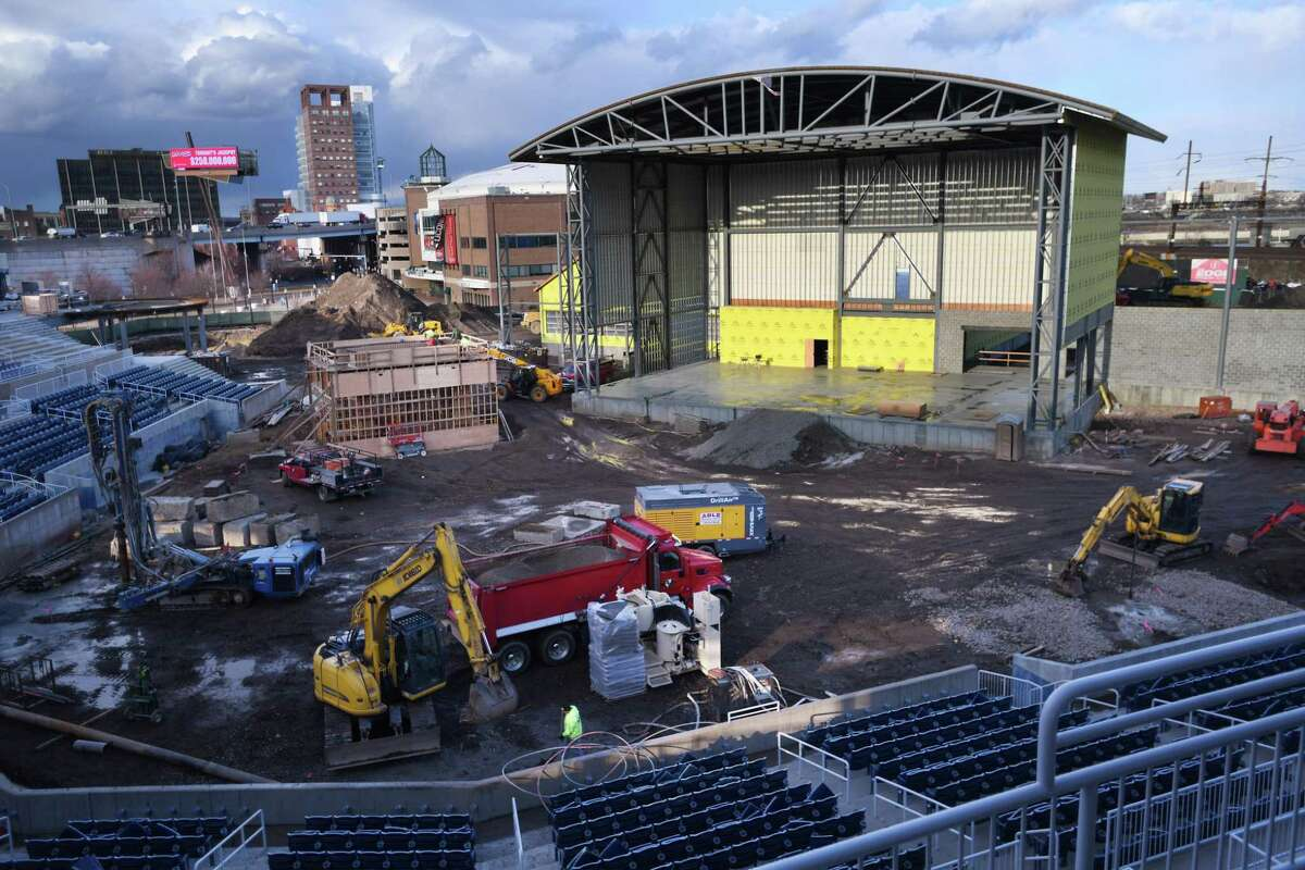 Construction continues on the conversion of the former Ballpark at Harbor Yard to an as-yet-unnamed boutique concert amphitheater in Bridgeport, Conn. on Tuesday, January 07, 2020.