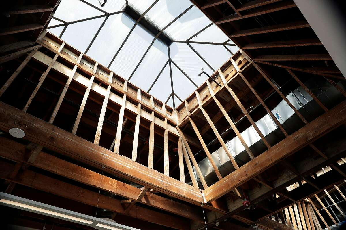 The original skylights and framing are visible in the new Restore Oakland building in the Fruitvale district in Oakland, Calif., on Wednesday, March 4, 2020. The renovated building in Fruitvale district now houses social justice-oriented nonprofits, job training, gallery space for local artists and much more.