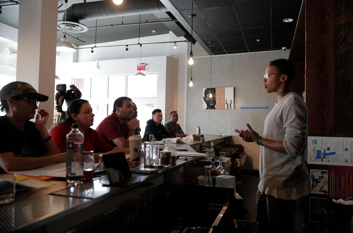 Teacher Redwood Hill leads a Bartending 201 class at the new Restore Oakland building in Oakland, Calif., on Wednesday, March 4, 2020. The restored building in Fruitvale district now houses social justice-oriented nonprofits, job training, and gallery space for local artists.
