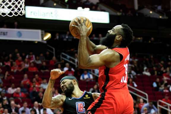 James Harden, driving against Marcus Morris of the Clippers on Thursday, has hit a wall in recent games.
