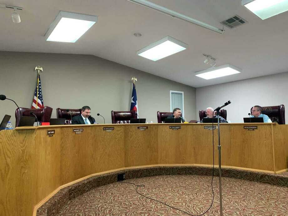 Gerald Chandler sits at the dais in the Lumberton ISD administration building before submitting his resignation to the board on March 5, 2020. Photo: Isaac Windes