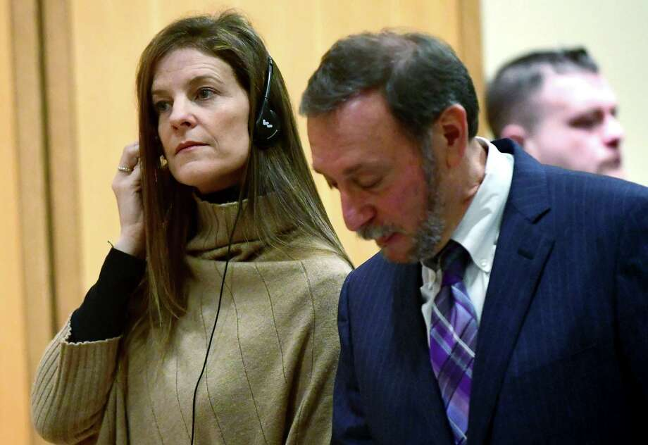 Michelle Troconis, charged with conspiracy to commit murder in the disappearance of Jennifer Dulos, appears for a pre-trial hearing, Friday, Feb. 6, 2020, at the Stamford Superior Court in Stamford, Conn. Troconis, ex-girlfriend of Fotis Dulos pleaded not guilty to conspiring with him in connection with the disappearance and presumed death of his estranged wife, Jennifer Dulos. (Erik Trautmann/Hearst Connecticut Media via AP, Pool) Photo: Erik Trautmann / Associated Press / Norwalk Hour