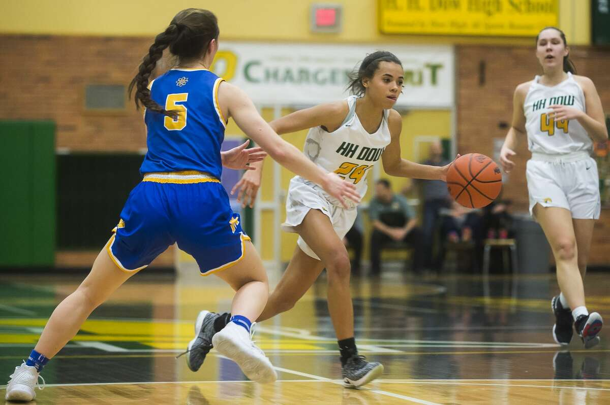 Dow's Jada Garner dribbles down the court during the Chargers' Division 1 district championship win over Midland Friday, March 6, 2020 at H. H. Dow High School. (Katy Kildee/kkildee@mdn.net)