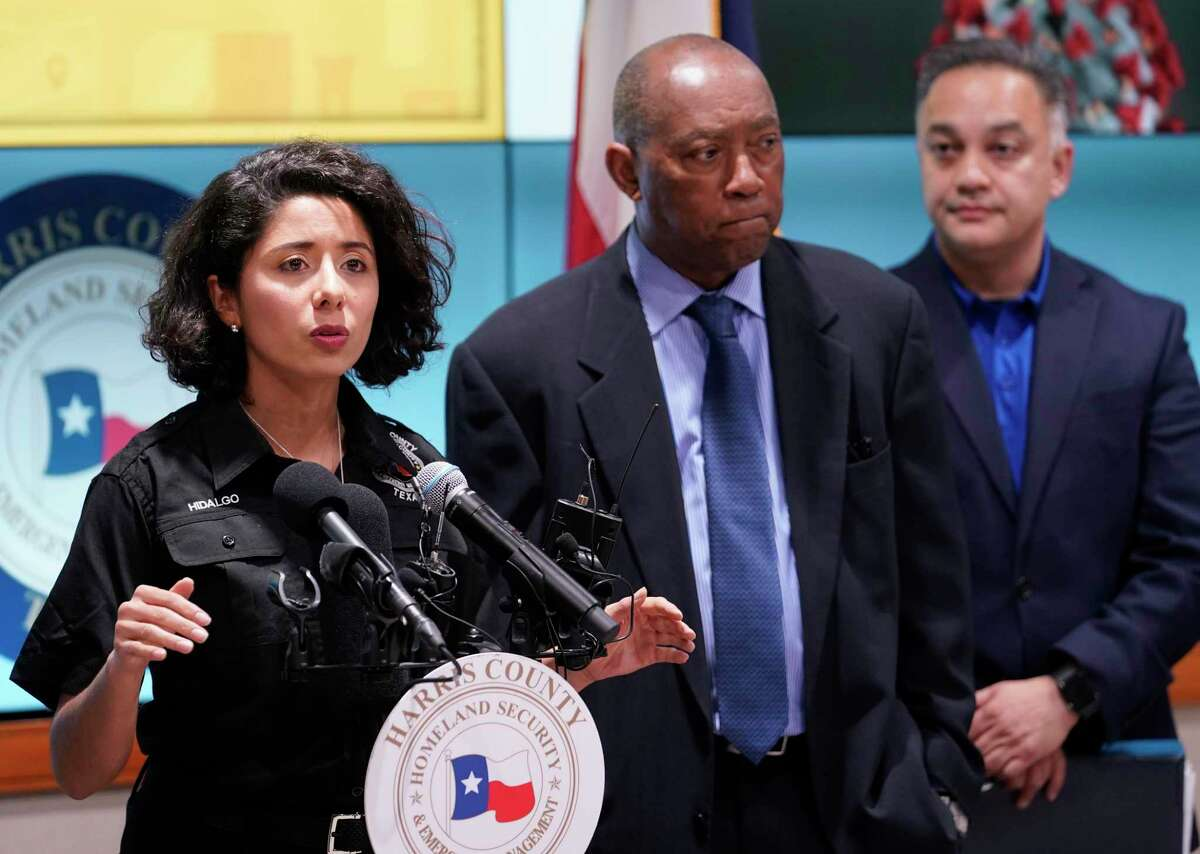 Harris County Judge Lina Hidalgo, left, speaks as Houston Mayor Sylvester Turner, Dr. Umair Shah, executive director of Harris County Public Health, right, listen about the first two cases of coronavirus in Harris County during media conference at Houston Transtar Thursday, March 5, 2020 in Houston. One man and one woman in the unincorporated area of northwest Harris County tested positive for COVID-19, according to county officials. Both patients, and the man in Fort Bend county that tested positive for COVID-19, had traveled together to Egypt.
