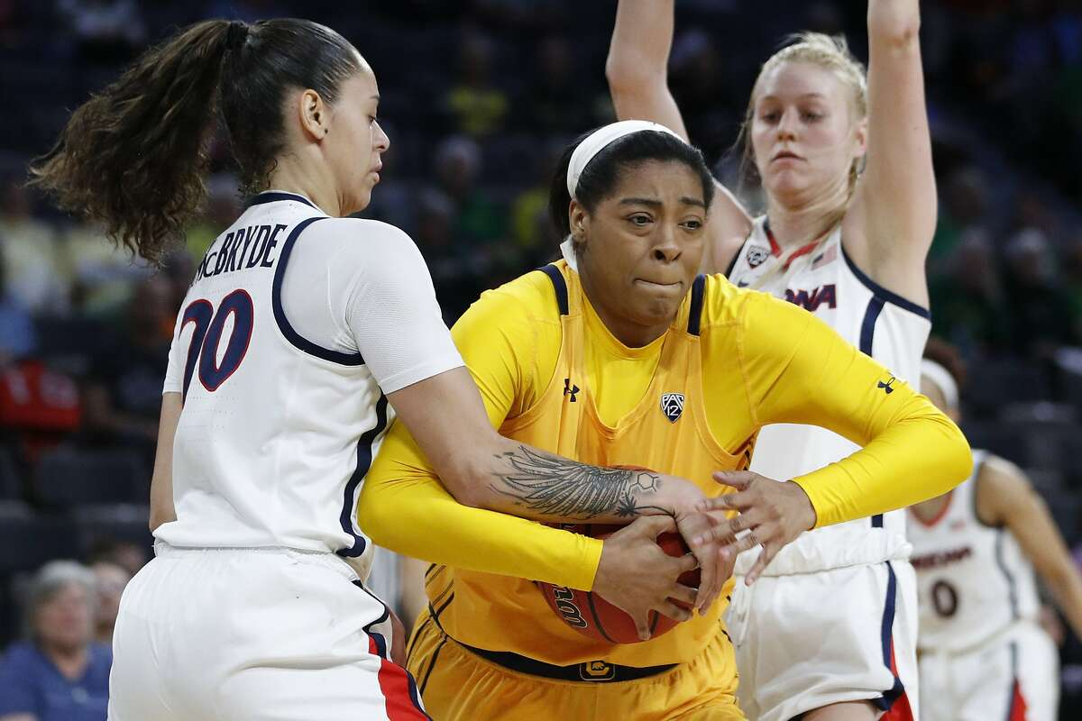 Arizona's Dominique McBryde, left, guards California's CJ West during the first half of an NCAA college basketball game in the quarterfinal round of the Pac-12 women's tournament Friday, March 6, 2020, in Las Vegas. (AP Photo/John Locher)