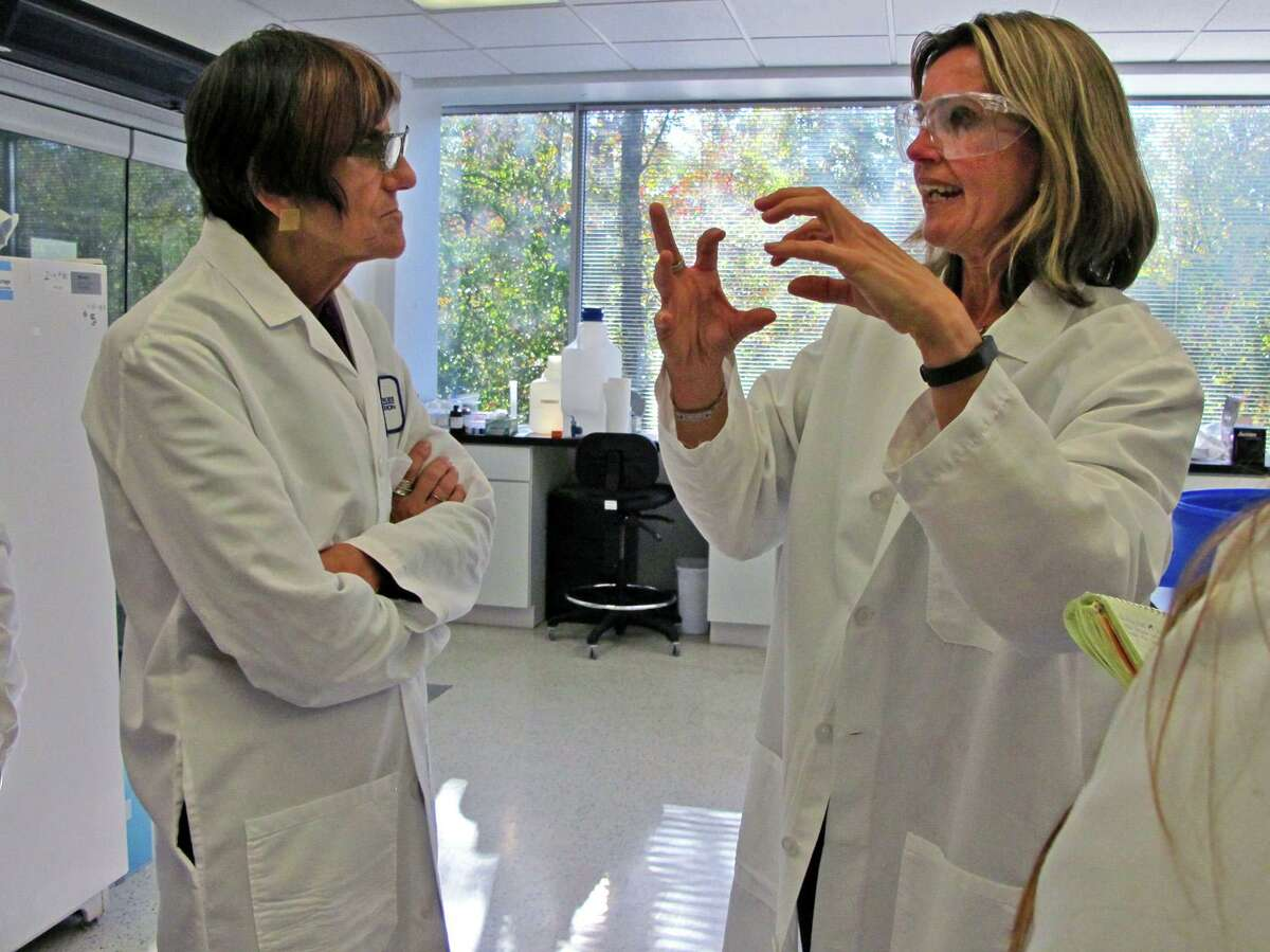 Manon Cox, then-president and CEO of Protein Sciences of Meriden, talks with U.S. Rep. Rosa DeLauro, D-3, at the company's lab in 2014. The lab was developing a vaccine that will help the body fight Ebola.
