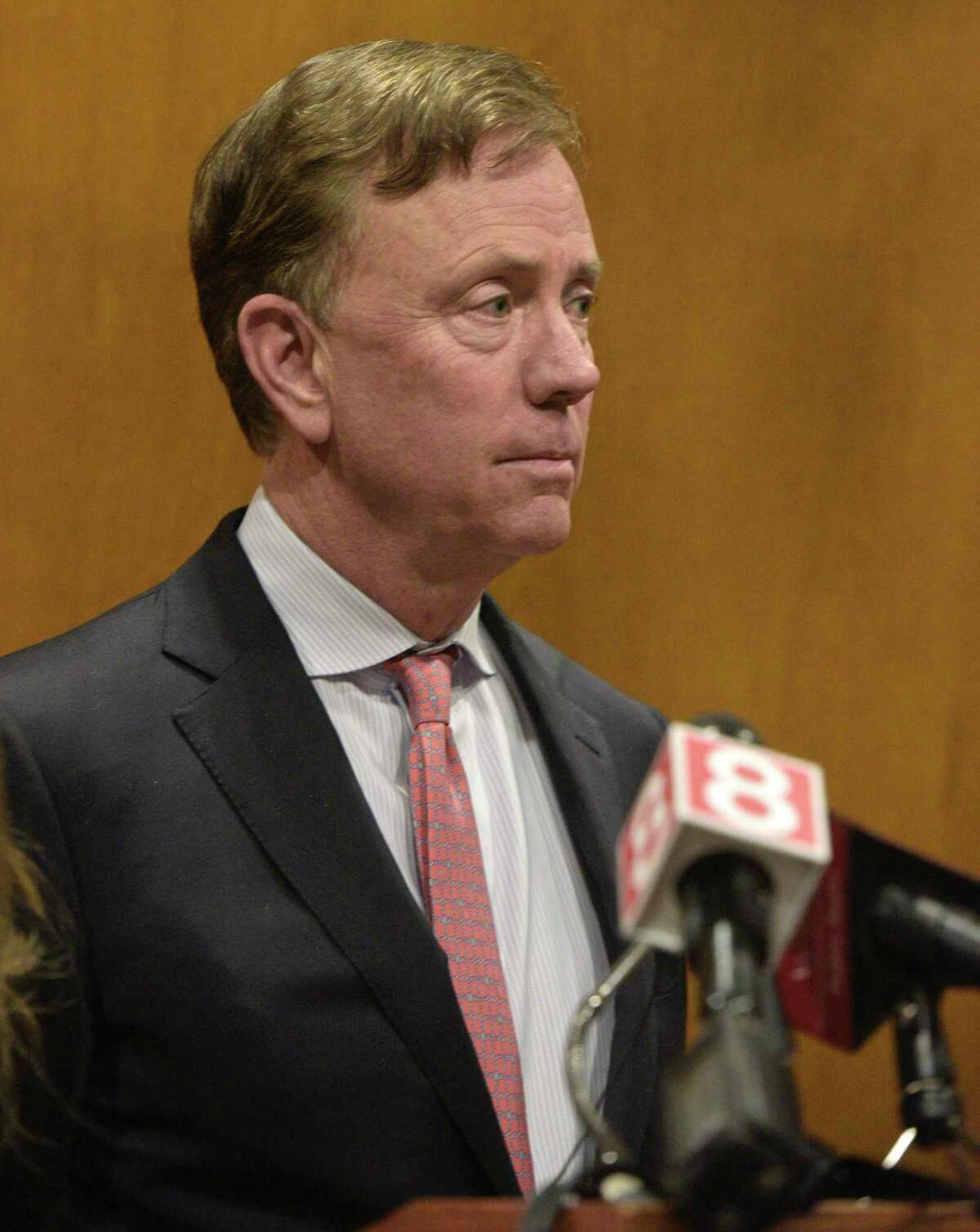 Governor Ned Lamont was joined by state and local officials in a news conference to announce details of an employee from Danbury and Norwalk Hospitals that has tested positive for COVID-19. Friday, March 6, 2020, at City Hall, Danbury, Conn.