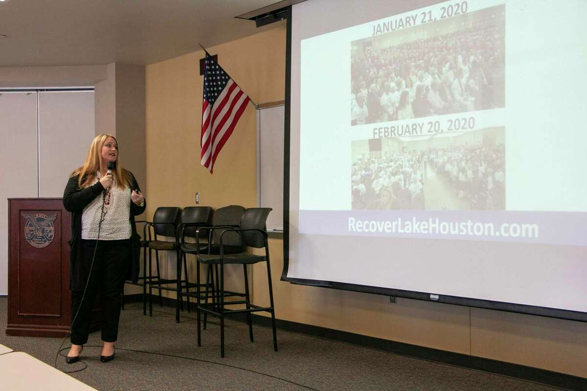 As the first BizCom meeting since the San Jacinto River Authority Board meeting, Jenna Armstrong, President and CEO of the Lake Houston Chamber of Commerce, discussed the final board vote and the chamber campaign, Lives Over Levels.