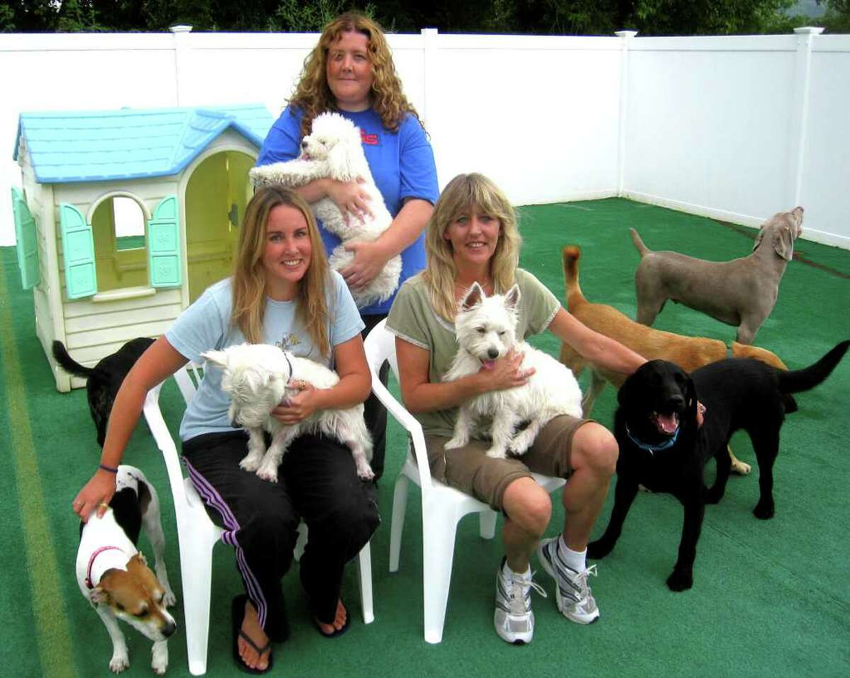 SPECTRUM/The owners of Unleashed! Doggie Daycare in New Milford are, seated, from the left, Amy Wibling and Chris Hilliard, and, standing, Kathleen Reynolds. Aug. 16, 2010