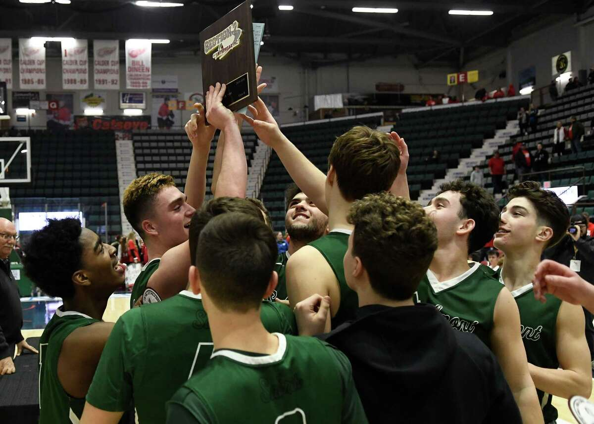 Schalmont basketball players haven't been had much of a chance to play since winning the Section II Class B championshipo March 6, 2020, at the Cool Insuring Arena in Glens Falls. If approved by county health officials, basketball teams can begin practicing Feb. 1. (Jenn March, Special to the Times Union)