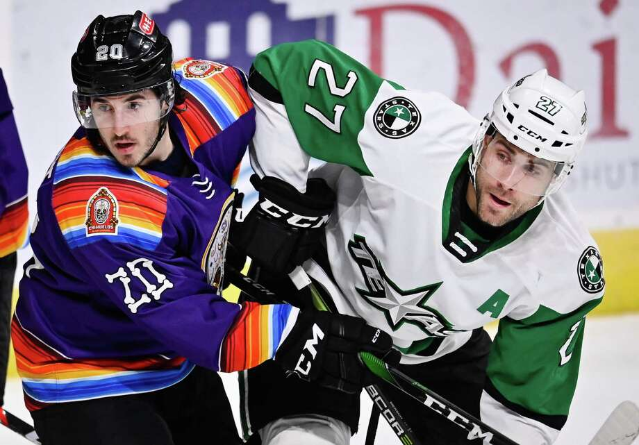 The Texas Stars play the San Antonio Rampage during the first period of an AHL hockey game, Friday, March 6, 2020, in San Antonio. (Darren Abate/AHL) Photo: Darren Abate, FRE / Darren Abate/AHL / Darren Abate/AHL