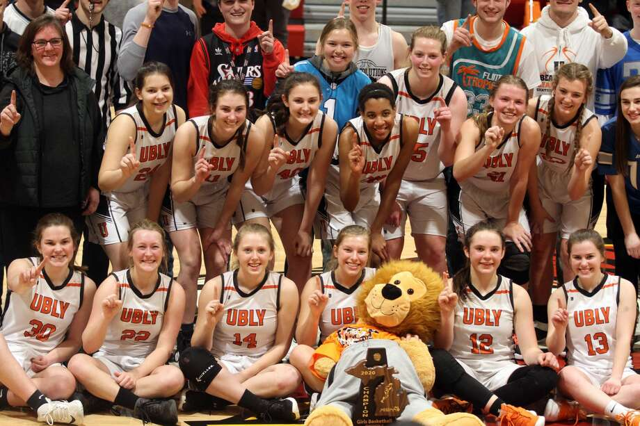 The Ubly girl basketball team won a district championship with a 42-31 win over Kingston on Friday, March 6. Photo: Eric Rutter/Huron Daily Tribune