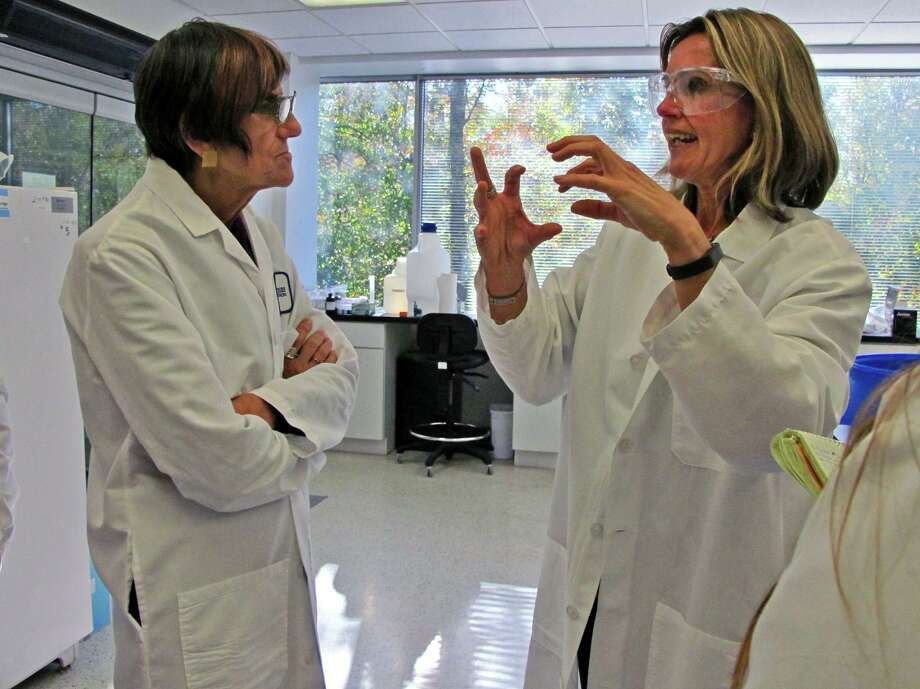 Manon Cox, then-president and CEO of Protein Sciences of Meriden, talks with U.S. Rep. Rosa DeLauro, D-3, at the company's lab in 2014. The lab was developing a vaccine that will help the body fight Ebola. Photo: Amanda Cuda / Amanda Cuda / Connecticut Post