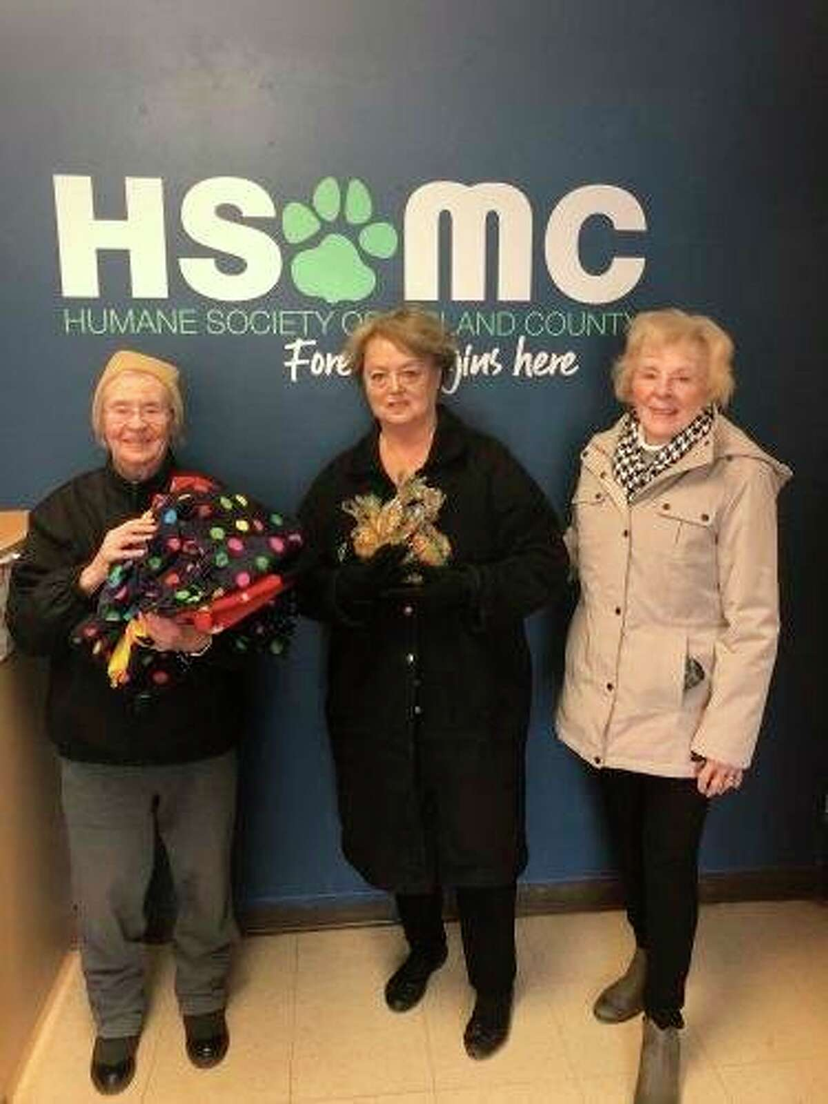 Primrose retirement residents worked hard making fleece blankets and dog treats for the Humane Society of Midland County. (Photo provided)