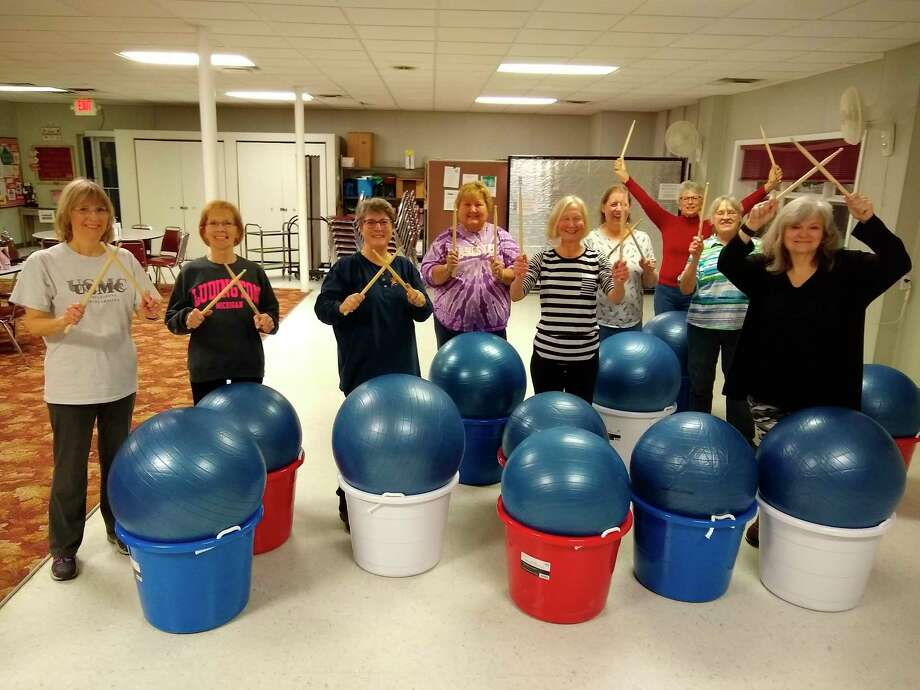 Tuesday's first cardio drumming class at the senior center was well attended. The workout was lots of fun. The drumming class is open to the public. Seniors drum for free, under 60 by donation. (Courtesy Photo)