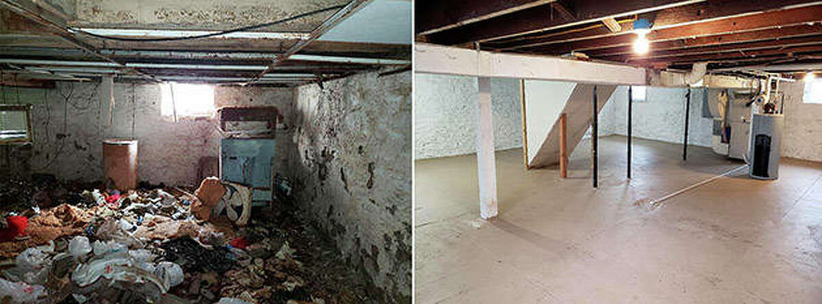 A combination of photos shows the basement of a Belleville house before (left) and after it was cleaned out and renovated.