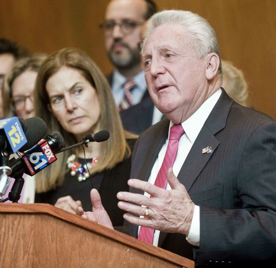 Norwalk Mayor Harry Rilling speaks at a news conference at Danbury City Hall regarding an employee from Danbury Hospital and Norwalk Hospital who is a resident of New York State and has tested positive for coronavirus disease (COVID-19). Friday, March 6, 2020 Photo: Scott Mullin / For Hearst Connecticut Media / The News-Times Freelance