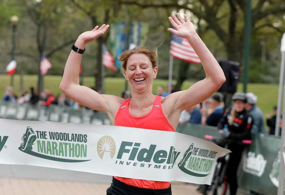 Emily Parker won the women's full marathon race during The Woodlands Marathon, Saturday, March 7, 2020, in The Woodlands. Photo: Jason Fochtman, Houston Chronicle / Staff Photographer / Houston Chronicle  © 2020