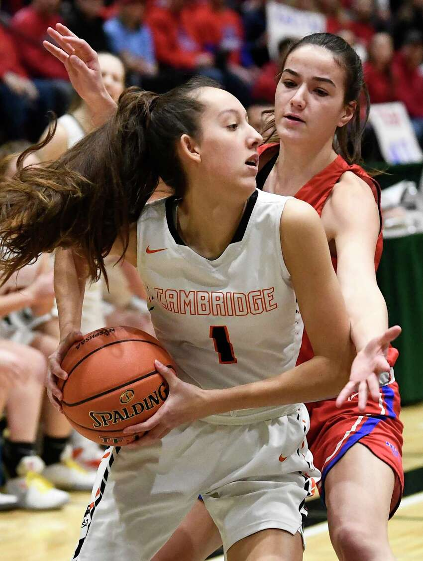 Cambridge's Lilly Phillips (1) helped the Indians to a state title in 2019, and they were still alive in 2020, but with the cancellation of state championships in basketball, as well as hockey and bowling, there will be no champion in 2020. (Hans Pennink / Special to the Times Union) ORG XMIT: 030820_hsbb_girls3_HP112