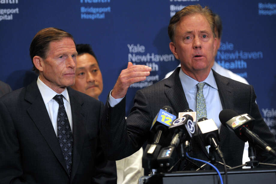 Gov. Ned Lamont speaks at a news conference at Bridgeport Hospital, in Bridgeport, Conn. March 7, 2020. Photo: Ned Gerard, Hearst Connecticut Media / Connecticut Post