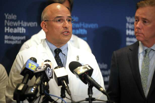 Dr. Rick Martinello, medical director for infection prevention for Yale New Haven Health, speaks at a news conference at Bridgeport Hospital, in Bridgeport, Conn. March 7, 2020.