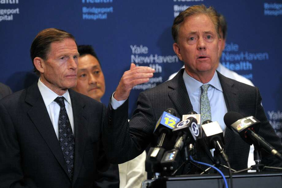 Gov. Ned Lamont speaks at a news conference at Bridgeport Hospital, in Bridgeport, Conn. March 7, 2020. Photo: Ned Gerard / Hearst Connecticut Media / Connecticut Post