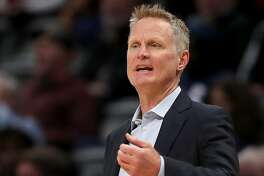 DENVER, COLORADO - MARCH 03: Head coach Steve Kerr of the Golden State Warriors works the sidelines against the Denver Nuggets in the first quarter at the Pepsi Center on March 03, 2020 in Denver, Colorado. NOTE TO USER: User expressly acknowledges and agrees that, by downloading and or using this photograph, User is consenting to the terms and conditions of the Getty Images License Agreement. ( (Photo by Matthew Stockman/Getty Images)