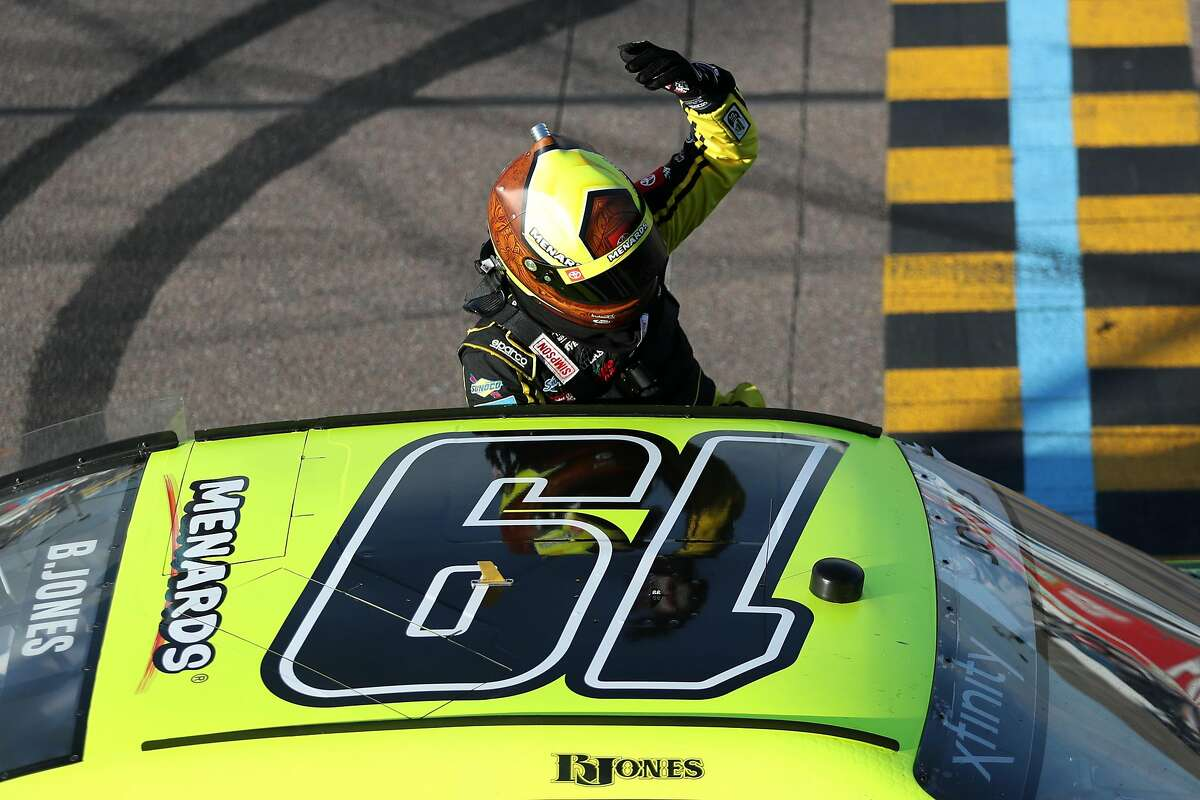 AVONDALE, ARIZONA - MARCH 07: Brandon Jones, driver of the #19 Menards/Turtle Wax Toyota, celebrates after winning during the NASCAR Xfinity Series LS Tractor 200 at Phoenix Raceway on March 07, 2020 in Avondale, Arizona. (Photo by Chris Graythen/Getty Images)