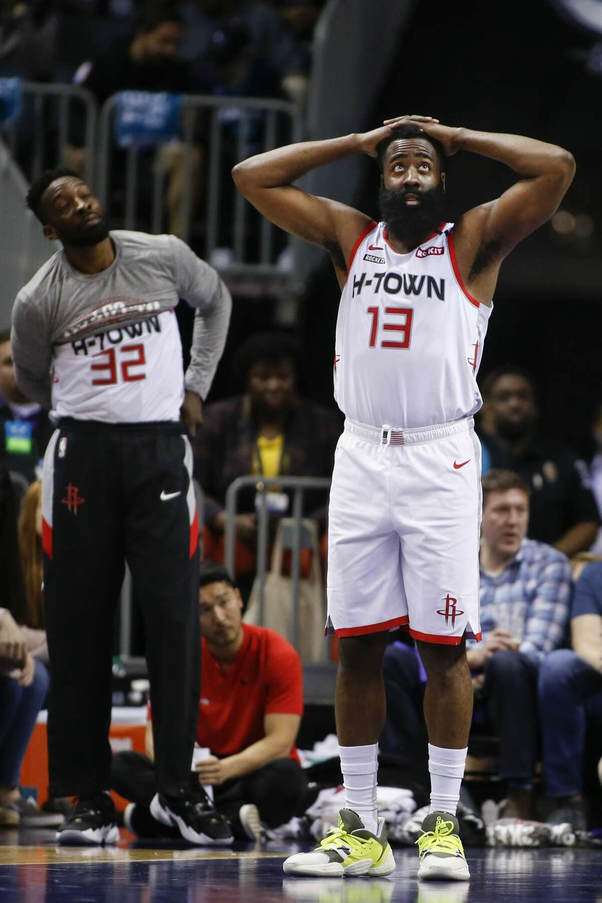 Houston Rockets guard James Harden (13) reacts after being called for a foul against the Charlotte Hornets during the second half of an NBA basketball game in Charlotte, N.C., Saturday, March 7, 2020. (AP Photo/Nell Redmond)