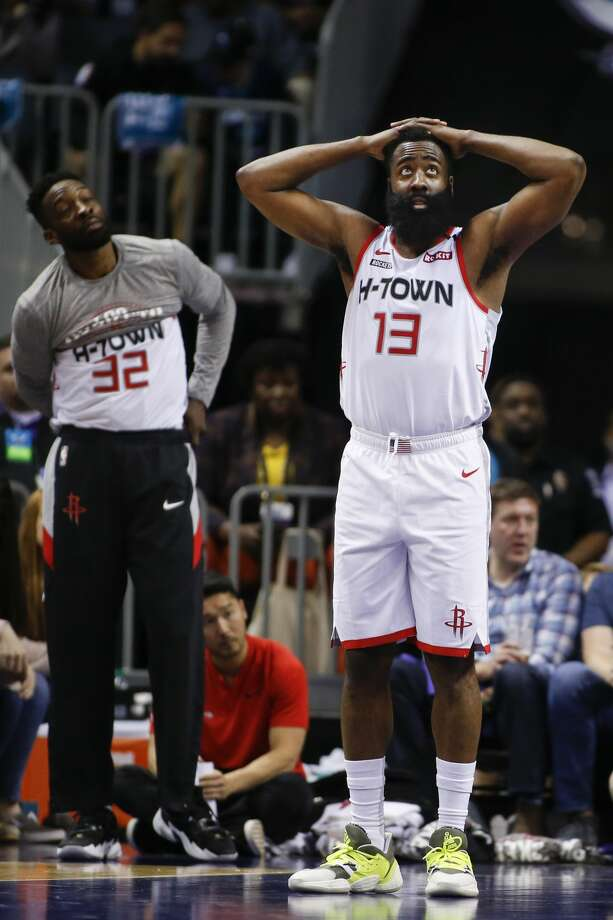 Houston Rockets guard James Harden (13) reacts after being called for a foul against the Charlotte Hornets during the second half of an NBA basketball game in Charlotte, N.C., Saturday, March 7, 2020. (AP Photo/Nell Redmond) Photo: Nell Redmond/Associated Press