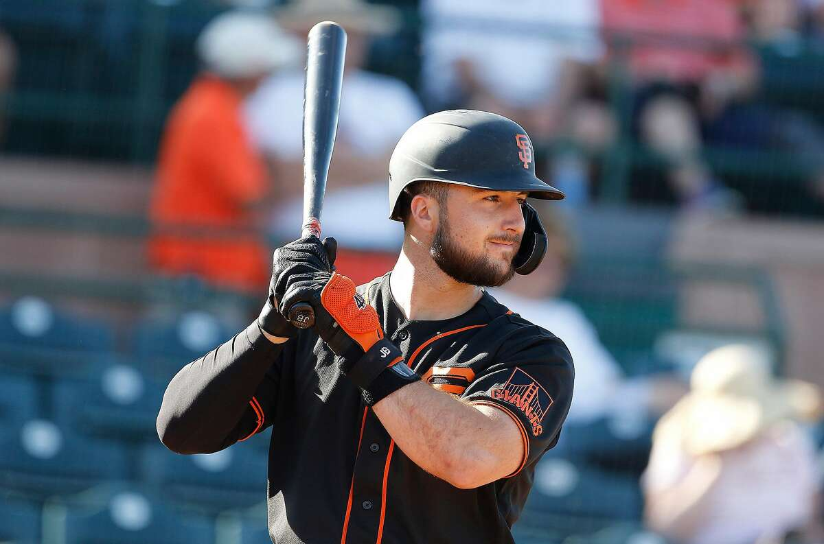 San Francisco Giants Joey Bart waits for a pitch bottom of the ninth inning during their game with the Cleveland Indians at Scottsdale Stadium Thursday, March 5, 2020, in Scottsdale, Arizona.