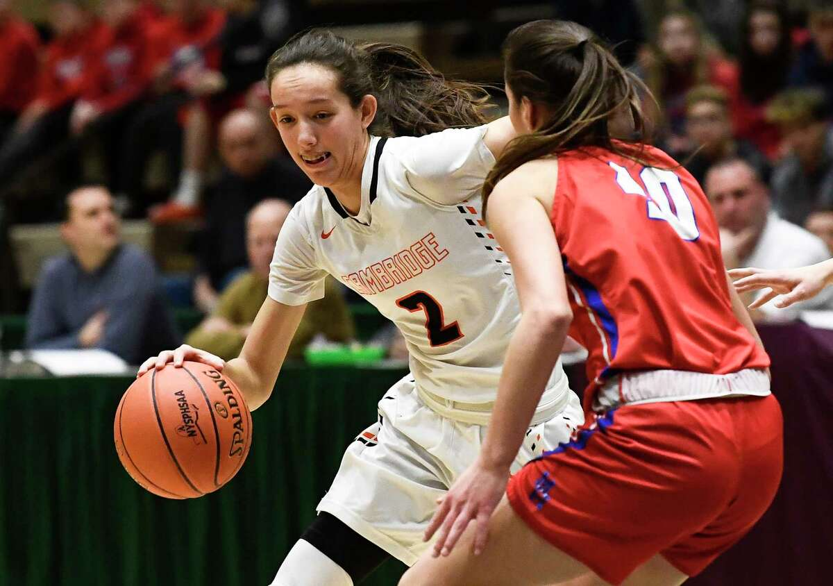 Cambridge's Sophie Phillips (2) moves the ball against Maple Hill's Natasha Strock (40) during a girls' Section II Class C high school championship basketball game Saturday, March 7, 2020 in Troy, N.Y. (Hans Pennink / Special to the Times Union) ORG XMIT: 030820_hsbb_girls3_HP113