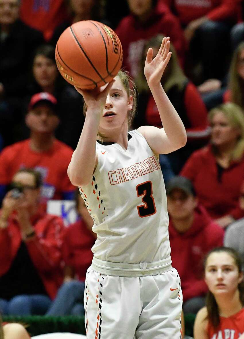 Cambridge's Ruth Nolan (3) shoots the ball against Maple Hill during a girls' Section II Class C high school championship basketball game Saturday, March 7, 2020 in Troy, N.Y. (Hans Pennink / Special to the Times Union) ORG XMIT: 030820_hsbb_girls3_HP114