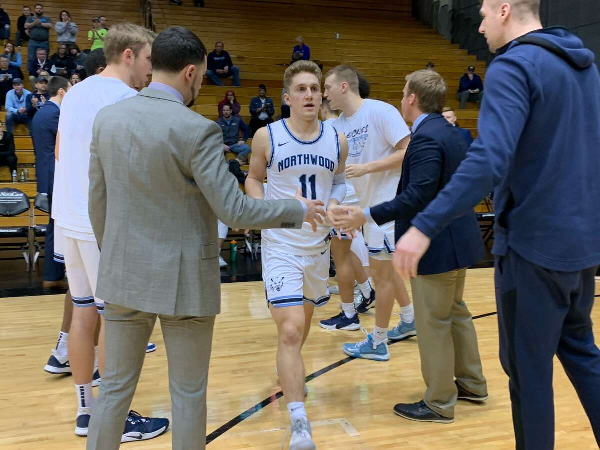 Northwood's Jack Ammerman (13) is introduced prior to Saturday's GLIAC Tournament semifinal at Grand Valley State.
