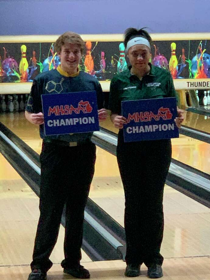 Izaac Goergen (left) is the first state champion for Midland High (photo provided)