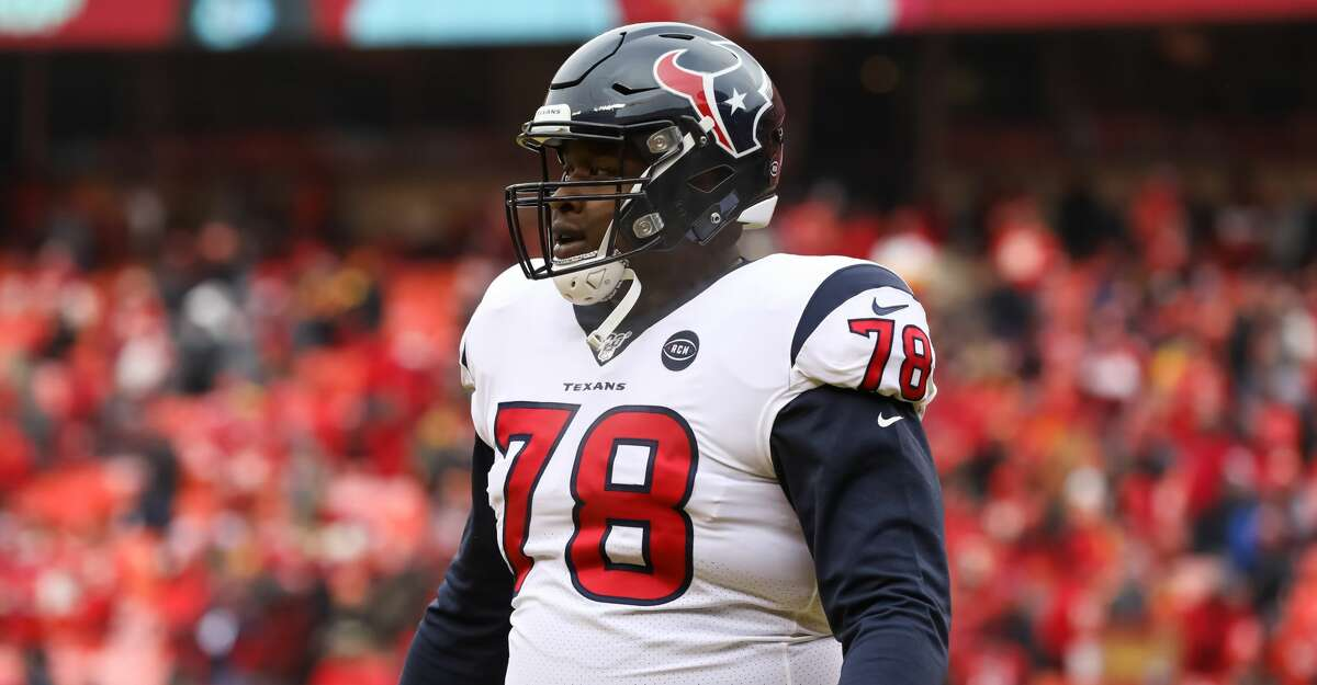 KANSAS CITY, MO - JANUARY 12: Houston Texans offensive tackle Laremy Tunsil (78) before an NFL Divisional round playoff game between the Houston Texans and Kansas City Chiefs on January 12, 2020 at Arrowhead Stadium in Kansas City, MO. (Photo by Scott Winters/Icon Sportswire via Getty Images)