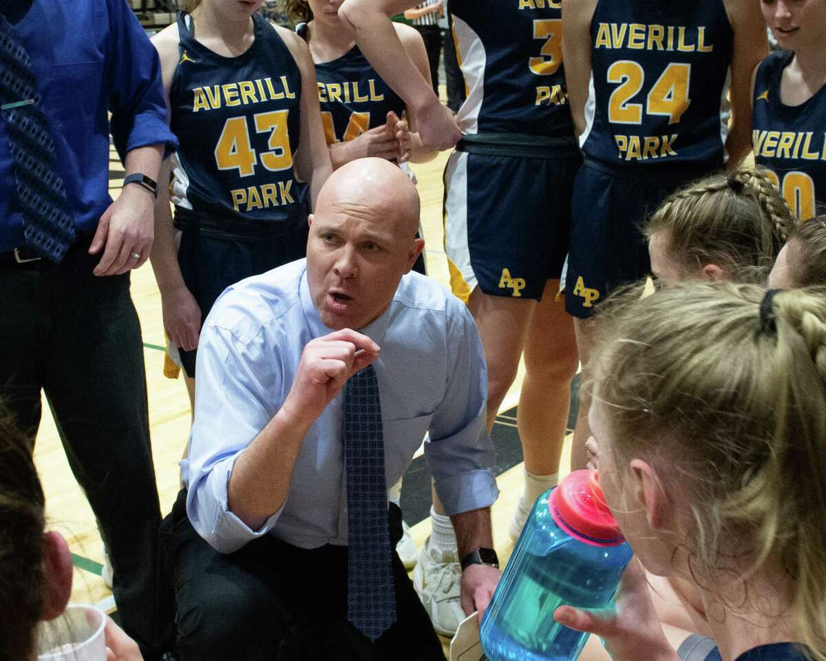 Averill Park head girls basketball coach Sean Organ in the Section II Class A finals on Saturday, March 7, 2020. Organ said his players were struggling in the absence of basketball. (Jim Franco/Special to the Times Union.)