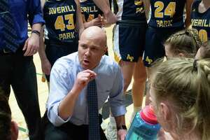 Averill Park head girls basketball coach Sean Organ against Queensbury in the Section II Class A finals at Hudson Valley Community College in Troy NY on Saturday, March 7, 2020 (Jim Franco/Special to the Times Union.)