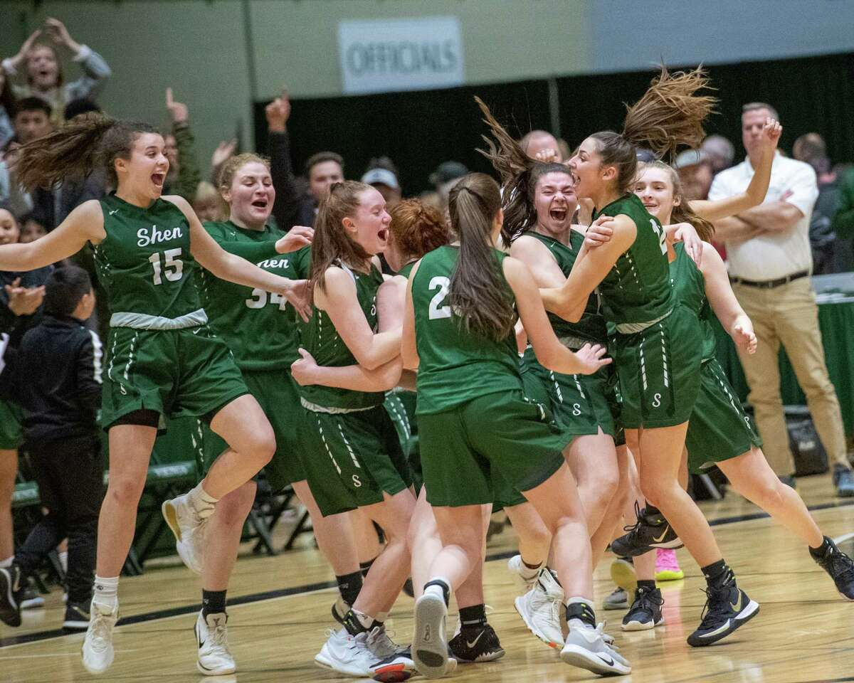 Shenendehowa players celebrate after beating Saratoga in the Section II, Class AA finals at Hudson Valley Community College in Troy NY on Saturday, March 7, 2020 (Jim Franco/Special to the Times Union.)