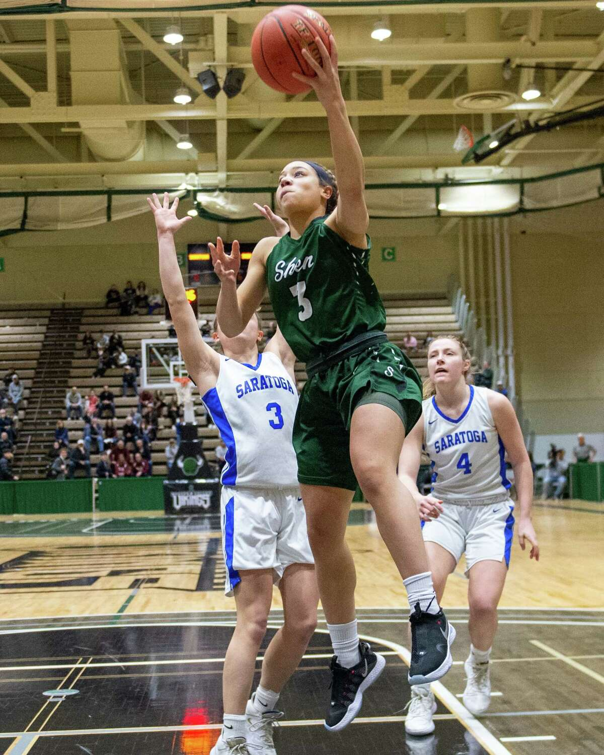 Shenendehowa senior Simone Walker drives to the basket against Saratoga in the Section II, Class AA finals at Hudson Valley Community College in Troy NY on Saturday, March 7, 2020 (Jim Franco/Special to the Times Union.)