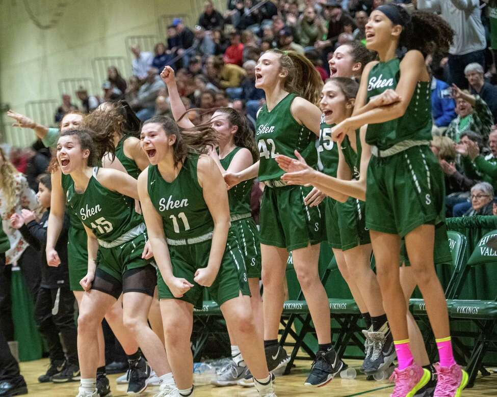 The Shenendehowa girls' basketball team was celebrating its victory over Saratoga on March 7, but now doesn't know when it might play again. (Jim Franco/Special to the Times Union.)